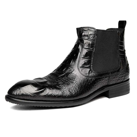 Men's Genuine Leather Elastic Band Pointed Toe Boots Black