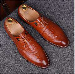Men's Crocodile Pattern Leather Lace Up Embossed Moccasins Dress Shoes