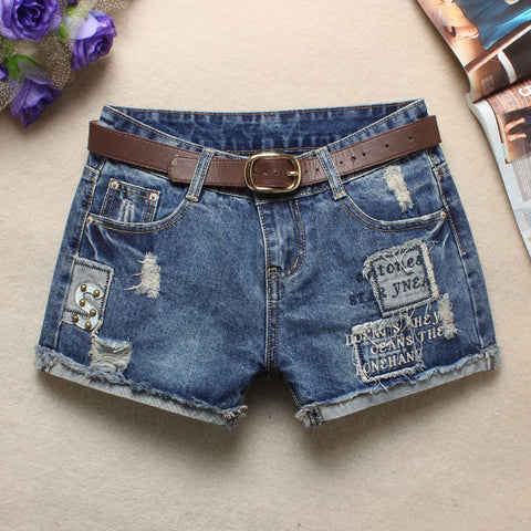 Summer Skinning Blue Hole Cuff Jeans Short