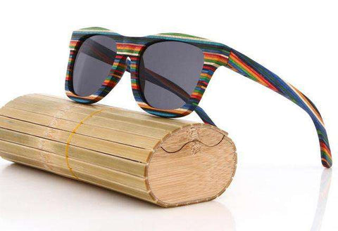 Handmade Skateboard Wooden Sunglasses Polarized Lens UV 400 Unisex
