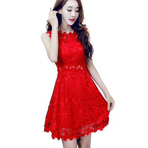Hollow Out Crochet Short Embroidered Red Lace Dress