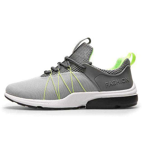 Men's Breathable Air Mesh Sports Running Leather Cushion Sneakers