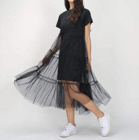 Pleated Tulle T shirt Dress
