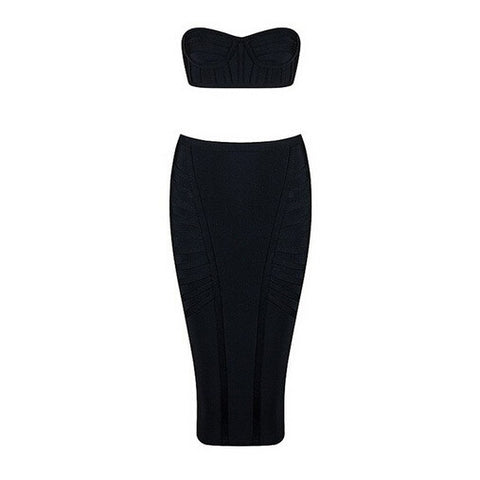 Strapless Two Piece Bandage Dress Mid Calf Bodycon Dress