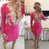 Long Sleeve Pink Beaded Lace Cocktail Dress Cute Boutiques