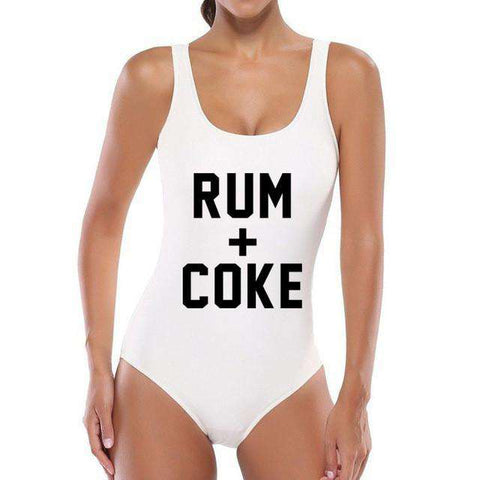 Rum+Coke Letter Print One Piece Swimsuit