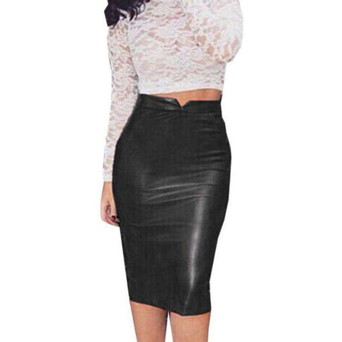 High Waist Faux Leather Chic Slim Bodycon Pencil Skirts Black