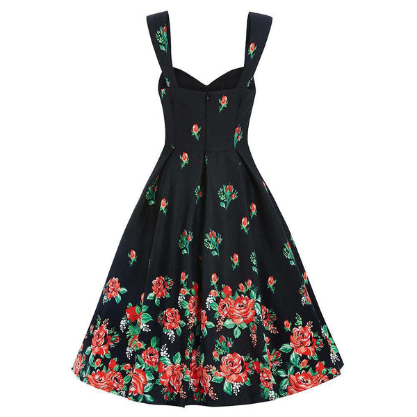 50's Sexy Backless Dress Floral Black