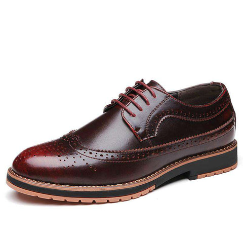 Men's Genuine Leather Lace Up Round Toe Dress Shoes Wine Red