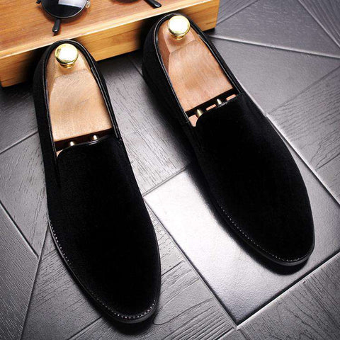 Men's Genuine Leather Velvet Slip On Shoes