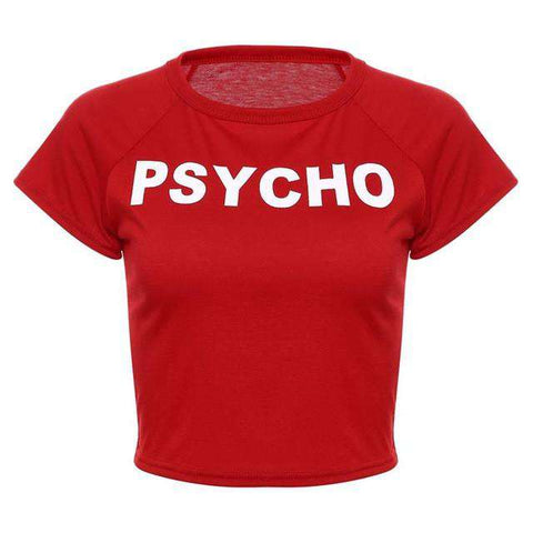 """Psycho"" Letters Printed Women Short Sleeve Crop Top Yellow"