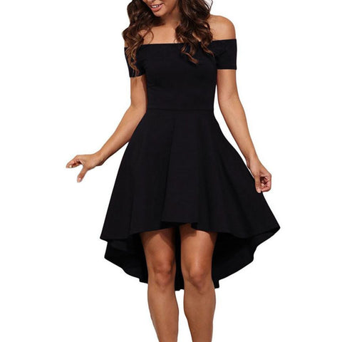 Women's Short Sleeve High Low Skater Cocktail Formal Swing Dress