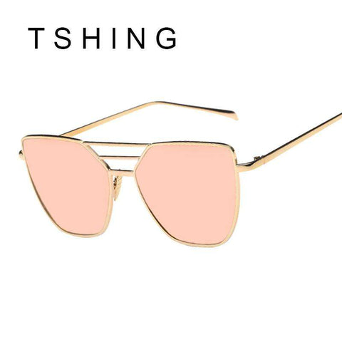 Flat Top Mirror Cat Eye Sunglasses For Women