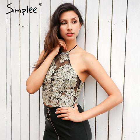 Elegant black Short Halter Gold Gauze Metallic Lace Crop Top