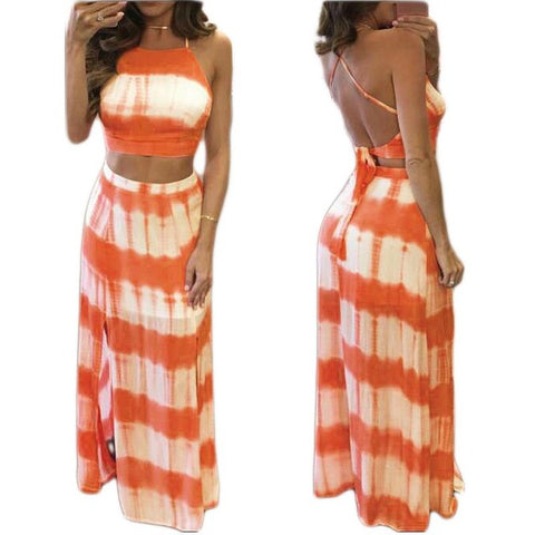 Two Piece Sleeveless Bandage Backless Maxi Beach Boho Casual Dress Blue