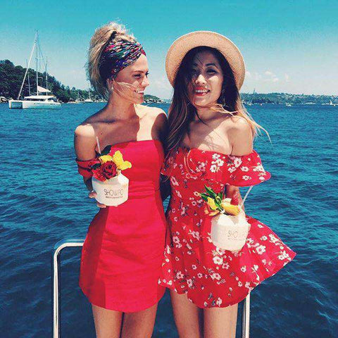 Floral Printed Strapless Rompers Beach Jumpsuit Red