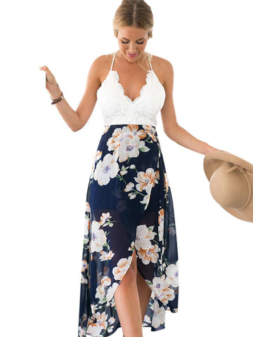 Backless Floral Print Chiffon & Lace V Neck Open High low Dress