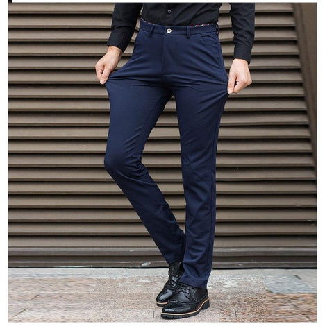Stretch Slim Fit Slacks Casual Formal Business Dress Pants