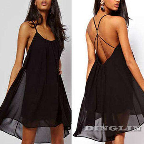 Beach Halter Backless Chiffon Swing Casual Loose Mini Dress Pink