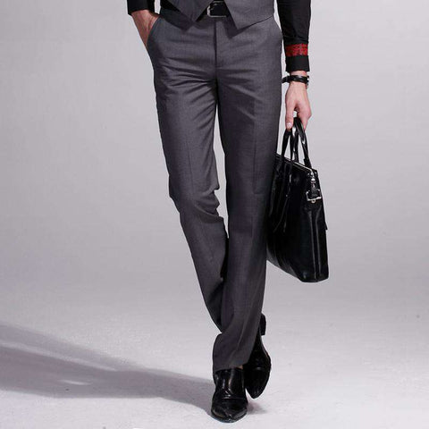 Men's Regular Slim Fit Formal Dress Pants Grey