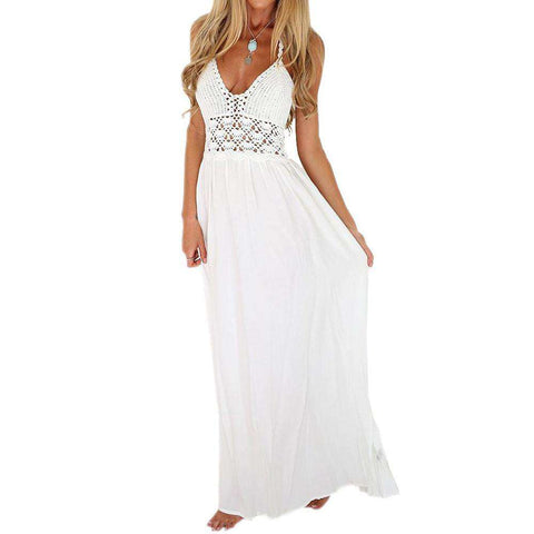 Beach Crochet Backless Bohemian Halterneck Evening Party Maxi Long Dress White