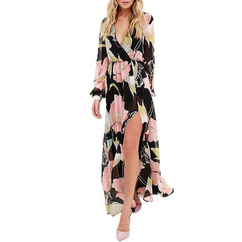 Deep V Neck Long Sleeve Floral Printed Loose Long Maxi Split Dress