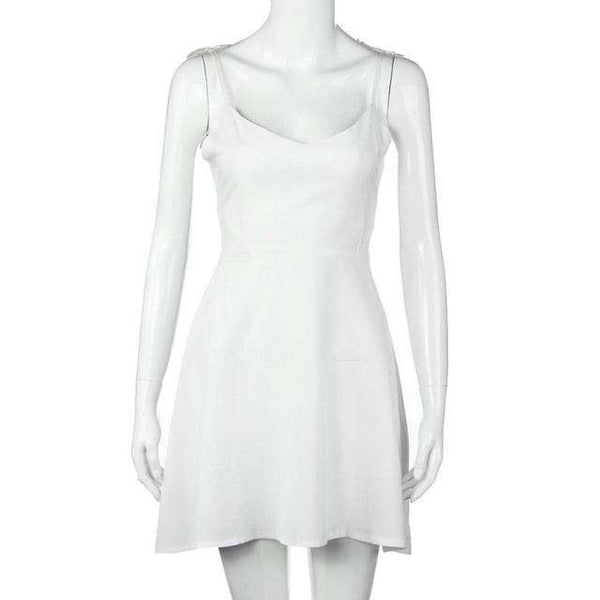 Casual Mini Plain White Sleeveless V Neck Backless Angel Wings Dress