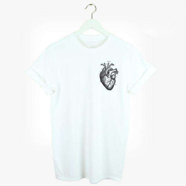 Anatomical Heart T-shirt Pocket Print Women's Grey