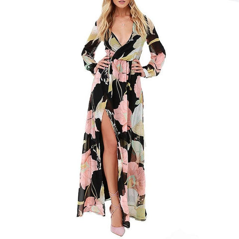 V-Neck Floral Print Long Sleeve High Waist Split Maxi Dress