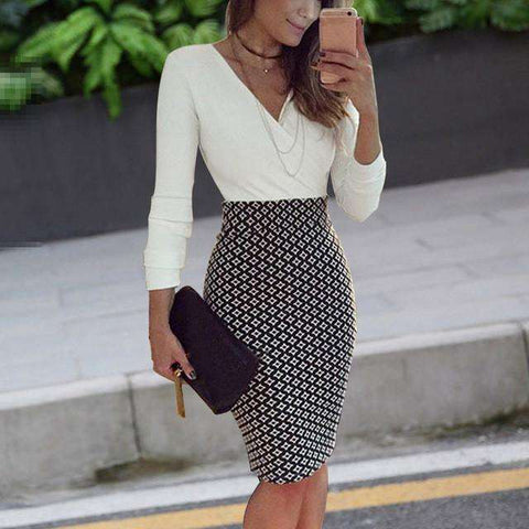 White Sexy V Neck Fashion Long Sleeve Pencil Work Dress With Black Grids