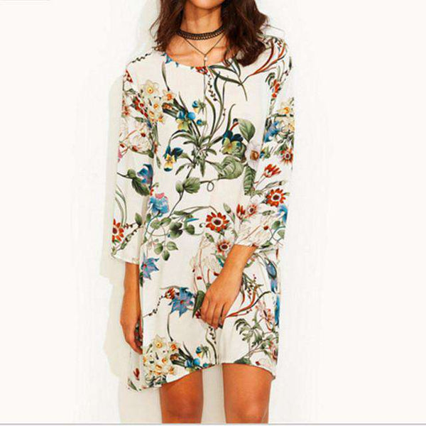 Boho Floral Cotton long shirt dress round neck mini dress