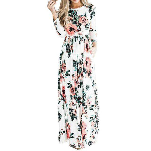 3/4 Sleeve Floral Print Casual Holiday Pockets Maxi Dress Pink