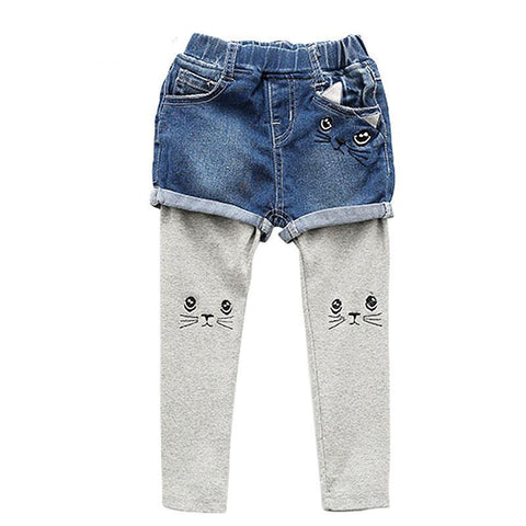two-piece Cat Embroidery Patchwork Kids Casual trousers