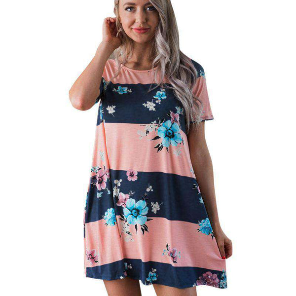 Bohemian Short Sleeve Floral Printed Sexy Strapless Boho Mini Dress