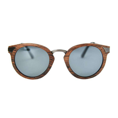 Cat Eye Wood Sunglasses Metal Legs Polarized Lens Round Frame For Women