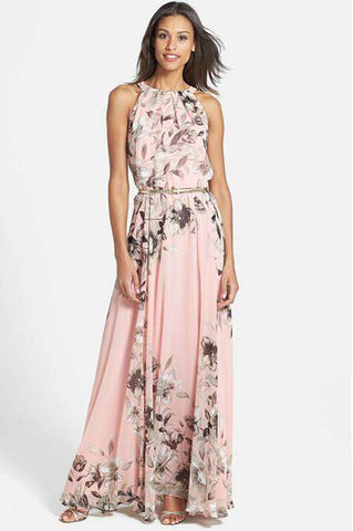 Halter Neck Off Shoulder Floral Chiffon Formal Dress Pink