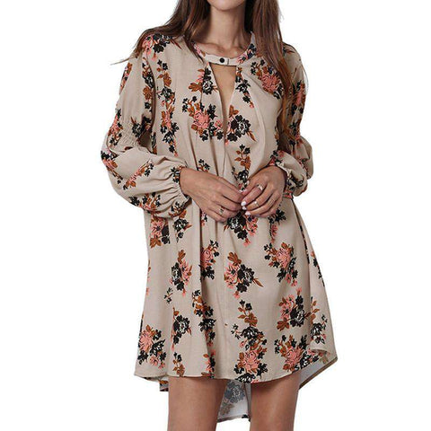 Casual Long Sleeve V-neck Floral Print Mini Dress Coffee