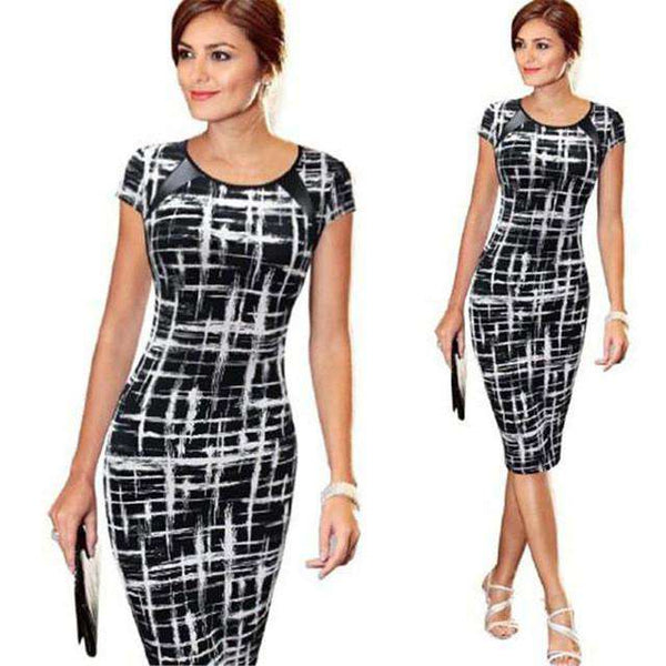 Bandage Bodycon Short Sleeve Pencil Style Sexy Party Mini Dress Black&White