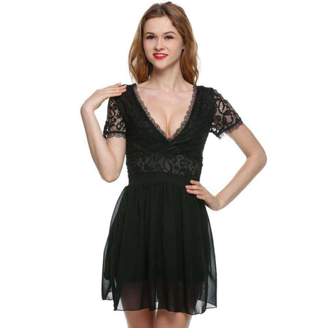 Short Sleeve Backless Chiffon Lace Party Dress Black