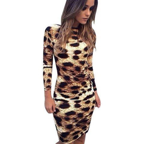 Sexy Women Backless Leopard Print Long Sleeve Dress Bodycon