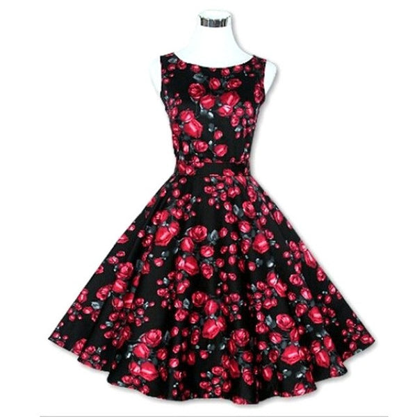 Vintage Floral Print Rockabilly Pinup Sleeveless Ball Gown Dress