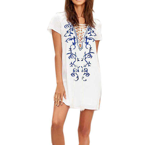 Floral Printed Lace-up Deep V Neck Short Sleeve Casual Loose Top