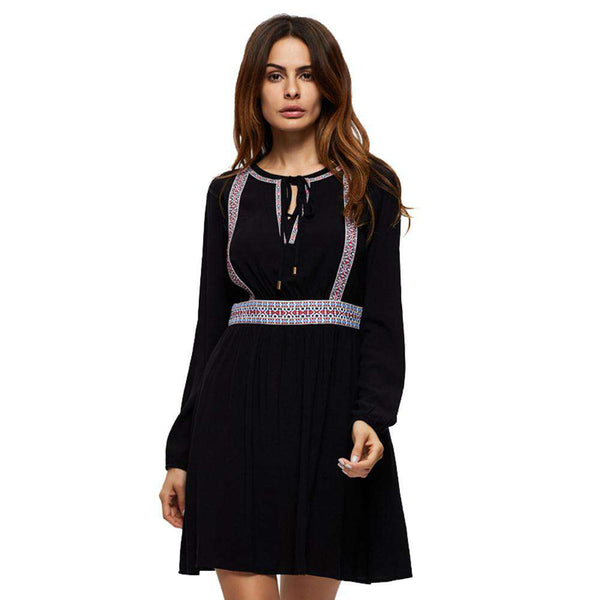 Casual Loose Long Sleeve Print Vintage Short Dress Black
