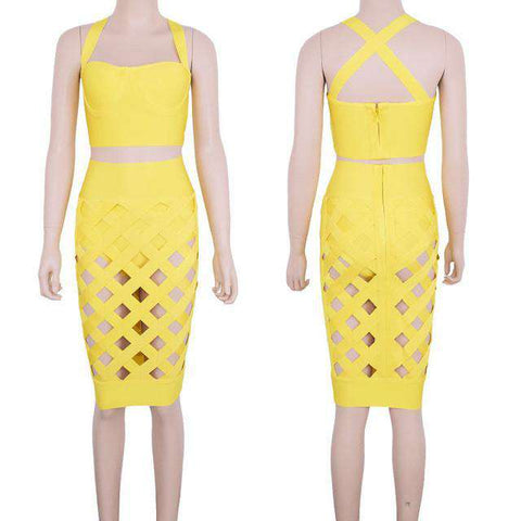 Open Lattice Crossover Two Piece Knee Length Bandage Dress