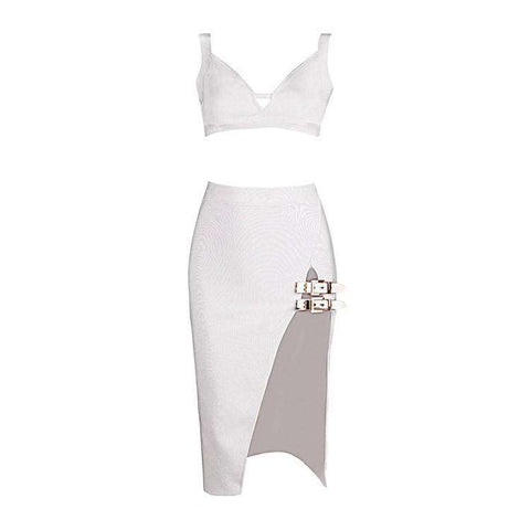 Two Piece High Split Dress White