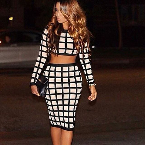 Two Piece Sets Mesh Long Sleeve Bodycon Bandage Dress Black&White