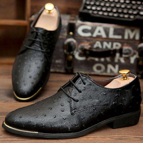 Men's Lace Up Pointed Toe Formal Dress Shoes Black