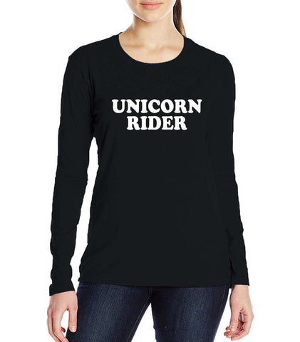 Funny Unicorn Rider Letters Print Women's T-shirt Long Sleeve Black