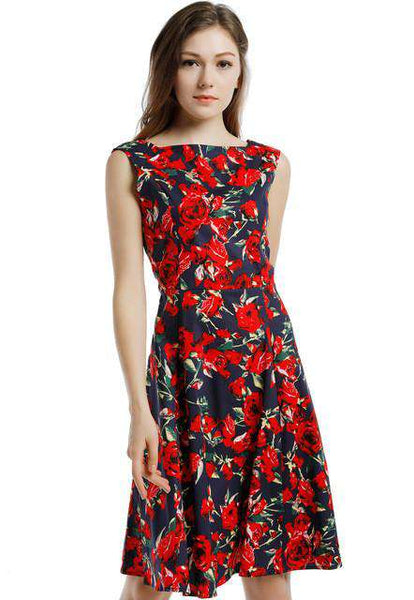 Floral Print Mid-Calf Swing Vintage Dress