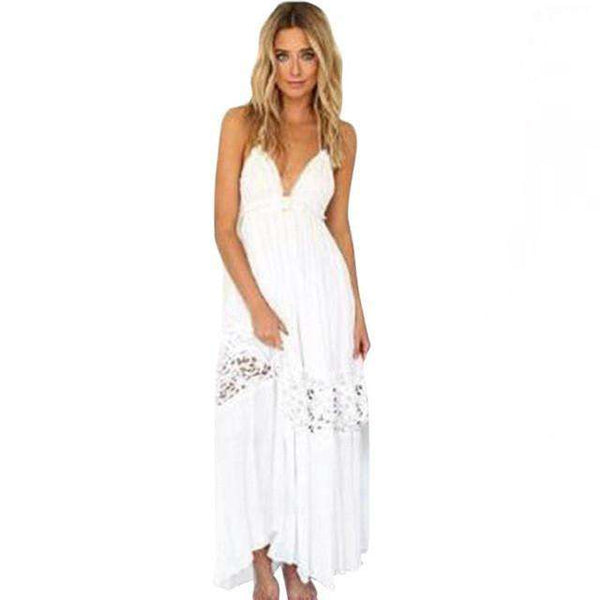 Long Maxi Boho V neck Split Slip Sleeveless Beach Dress White Sundress